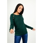 Knitted rib blouse with buttons