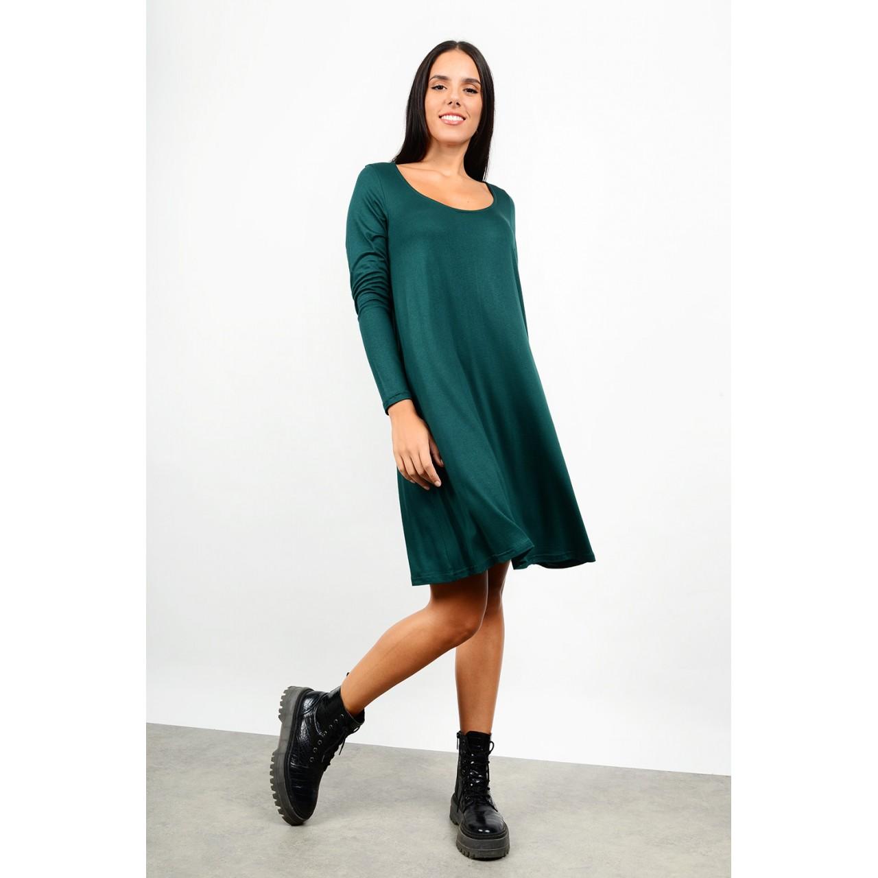 Midi basic dress in a-line