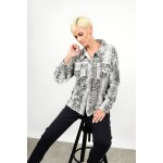 Oversized denim jacket/shirt snake print Limited Edition