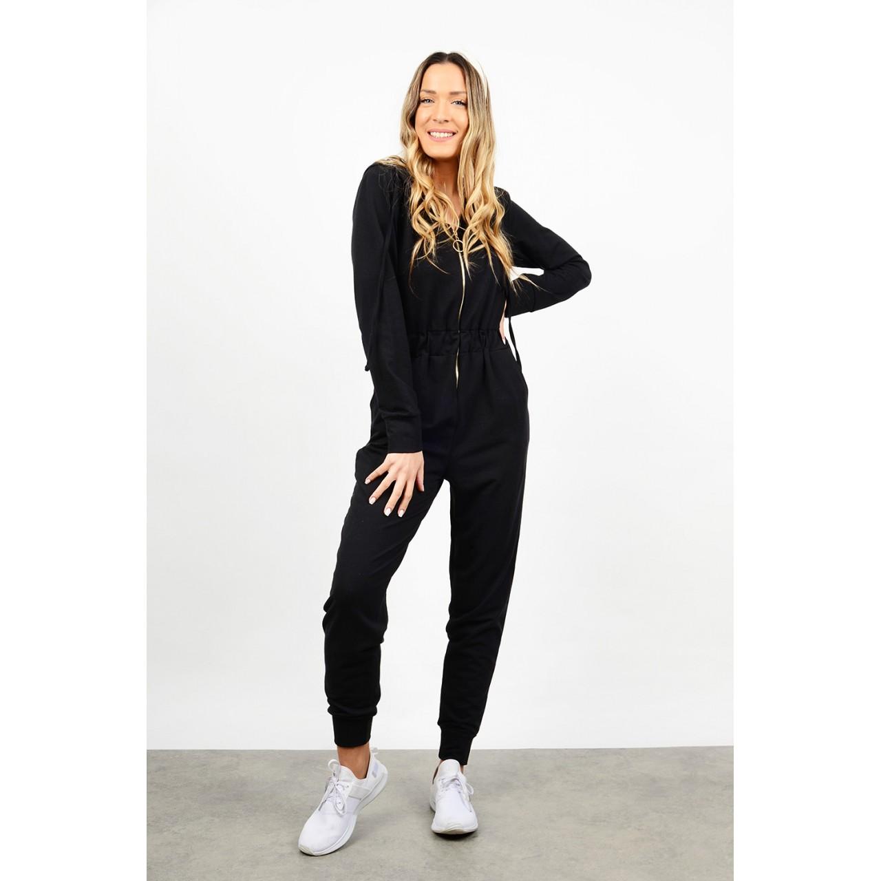Jumpsuit with zipper & hood
