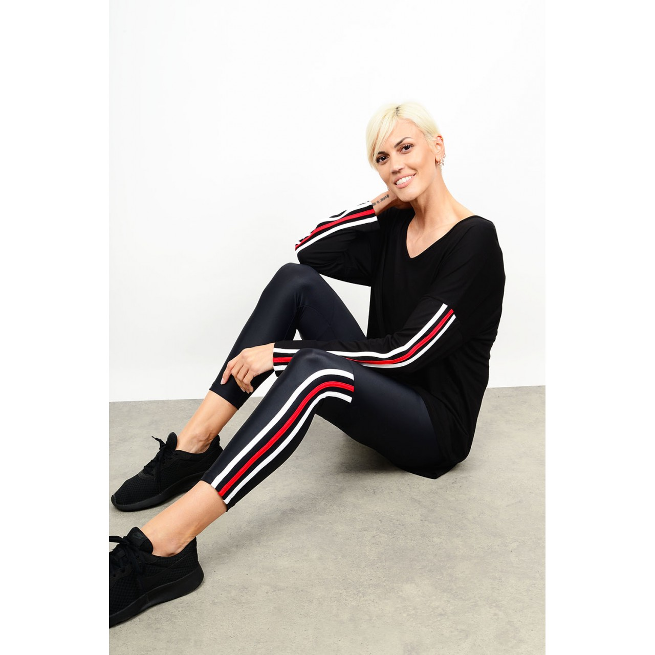Striped set blouse with legging