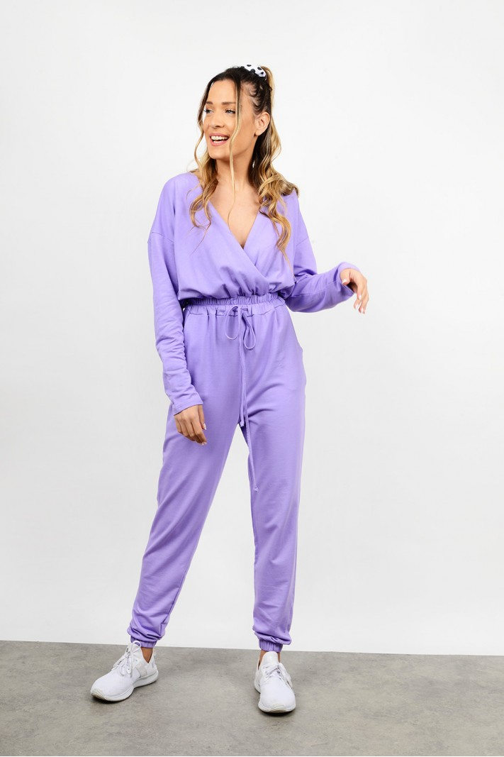 Jumpsuit with wrap chest