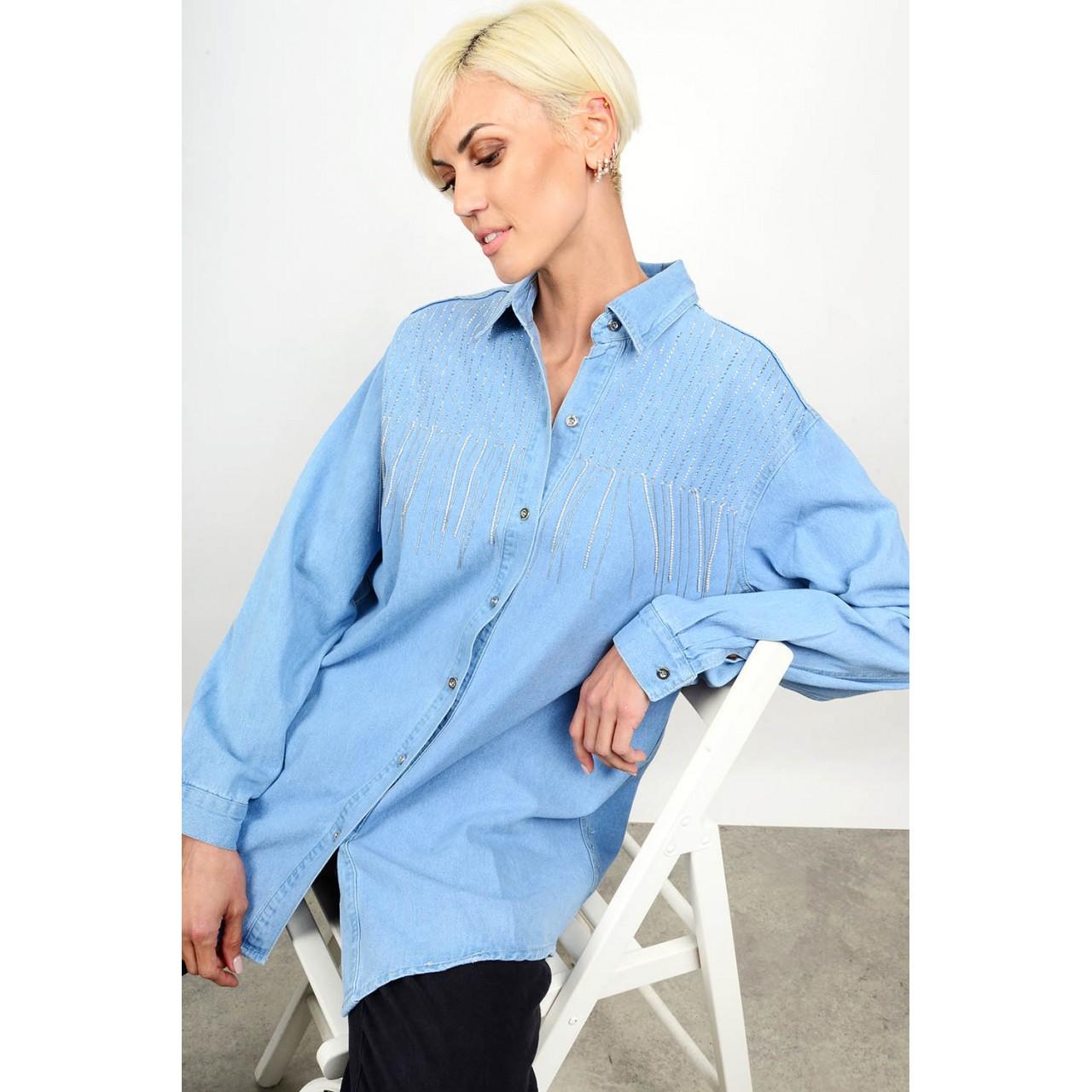 98.Oversized πουκάμισο τζιν με στρας Limited Edition