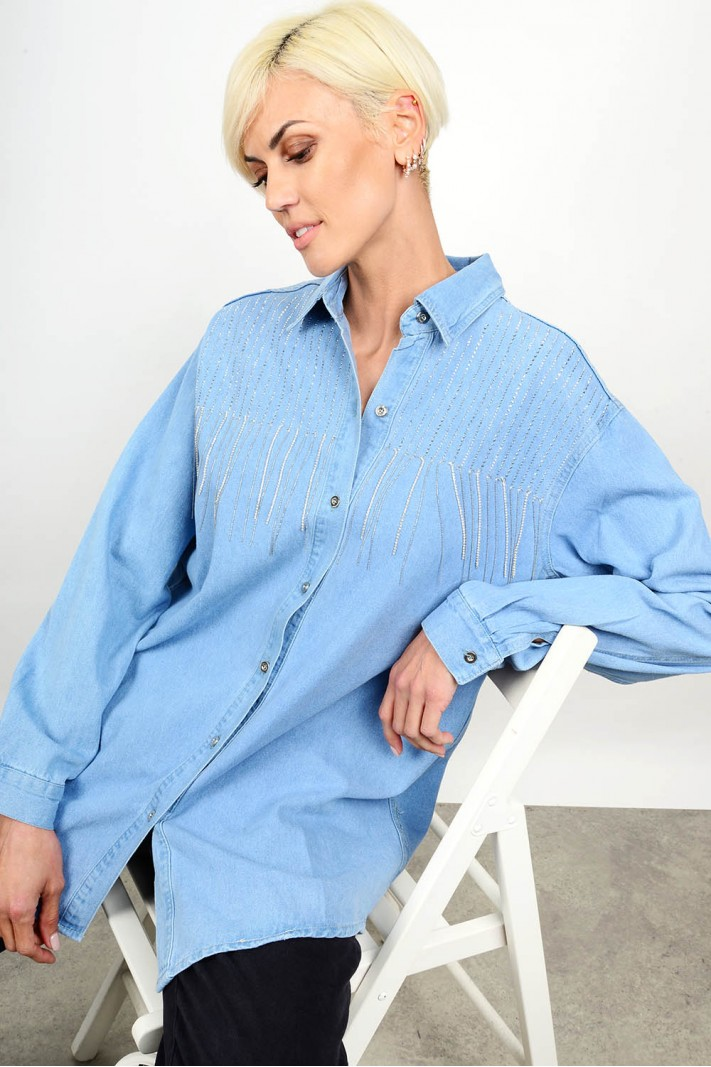 Oversized jean shirt with strass Limited Edition