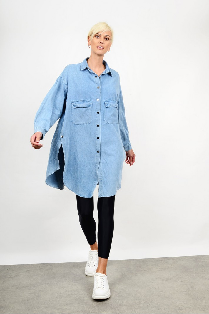 Oversized jean shirt with buttons Limited Edition