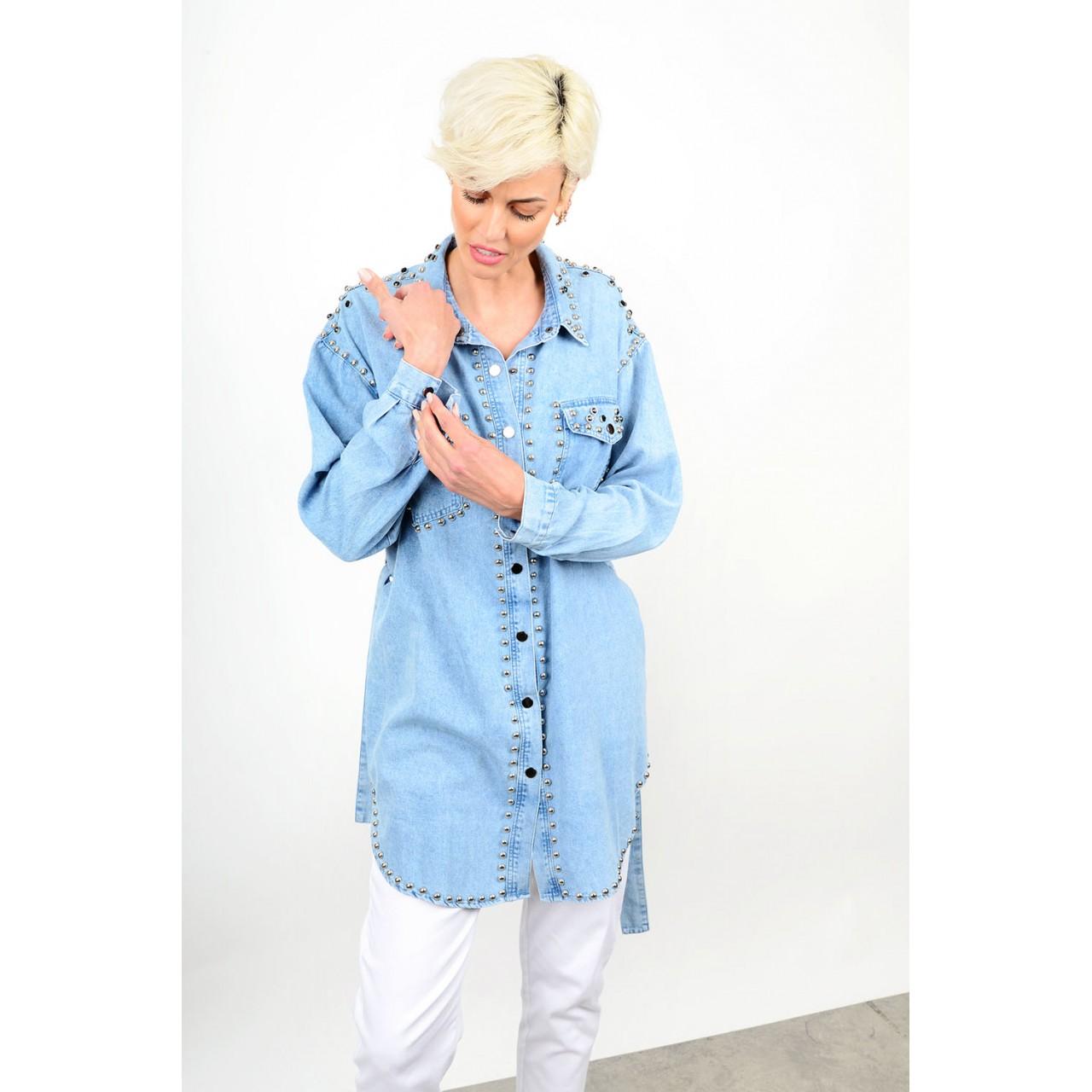 148.Oversized πουκαμίσα τζιν με τρούκς Limited Edition
