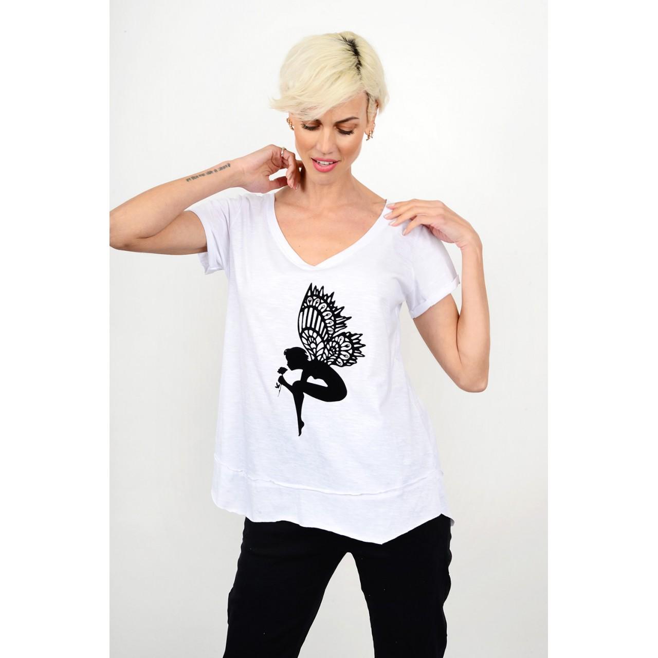 190.Oversized μπλούζα χειροποίητη με τύπωμα