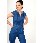 Jean jumpsuit with hood