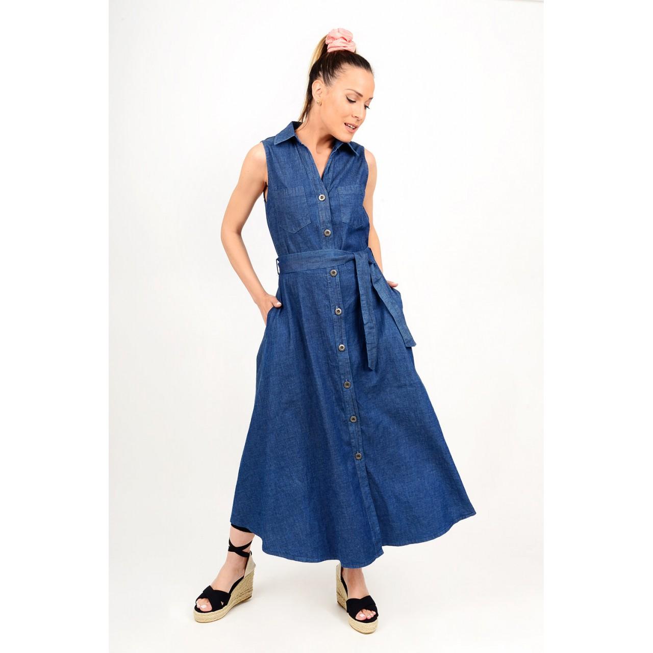 Maxi jean dress in a-line