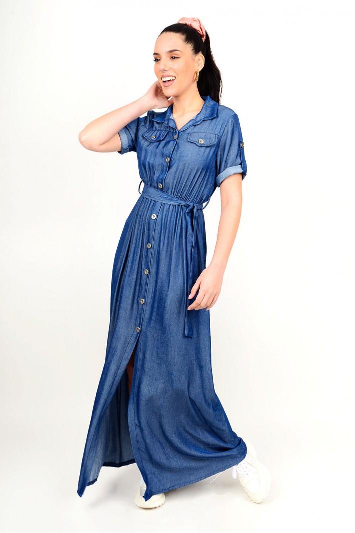 224.Φόρεμα μάξι τζιν με κουμπιά
