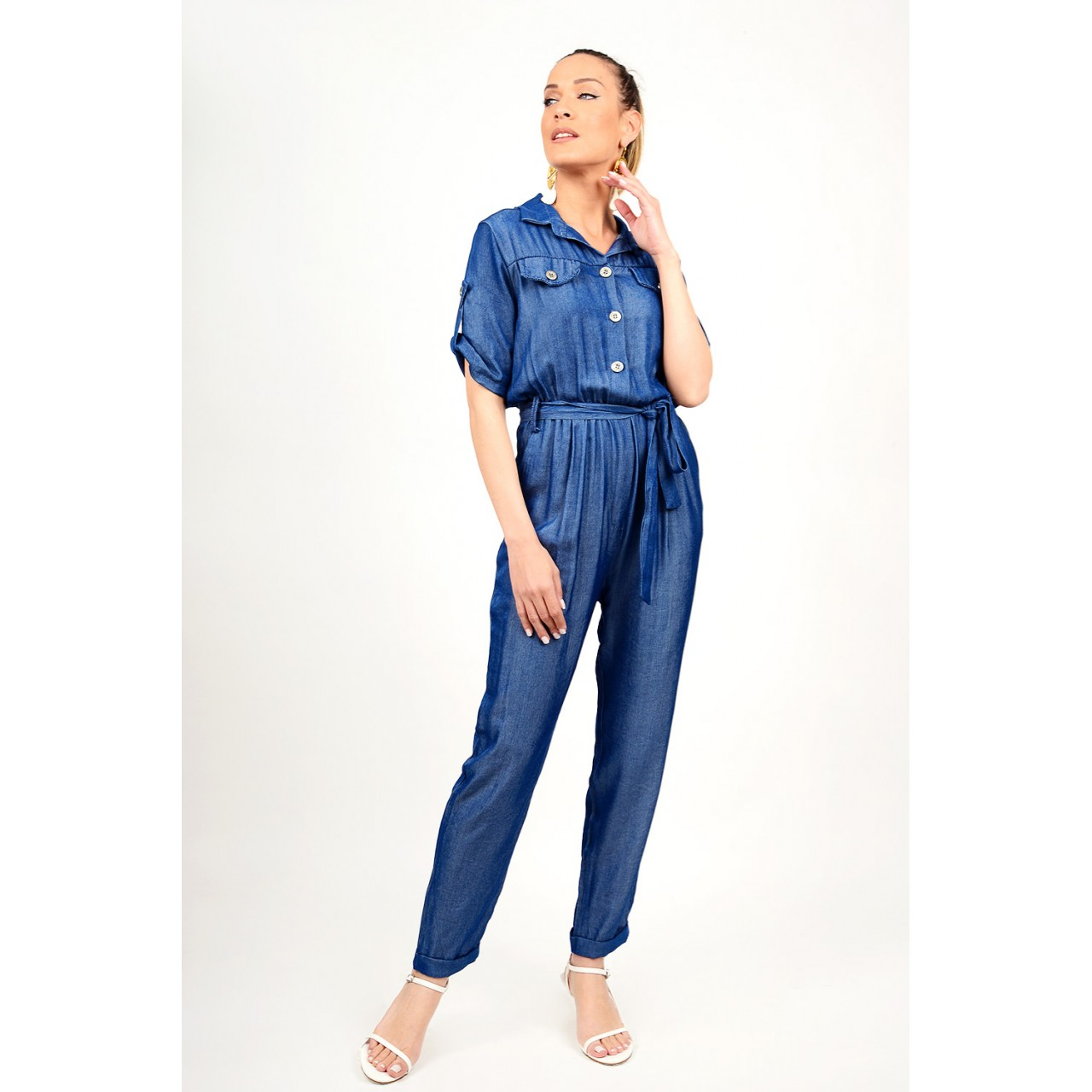 Jean jumpsuit with buttons