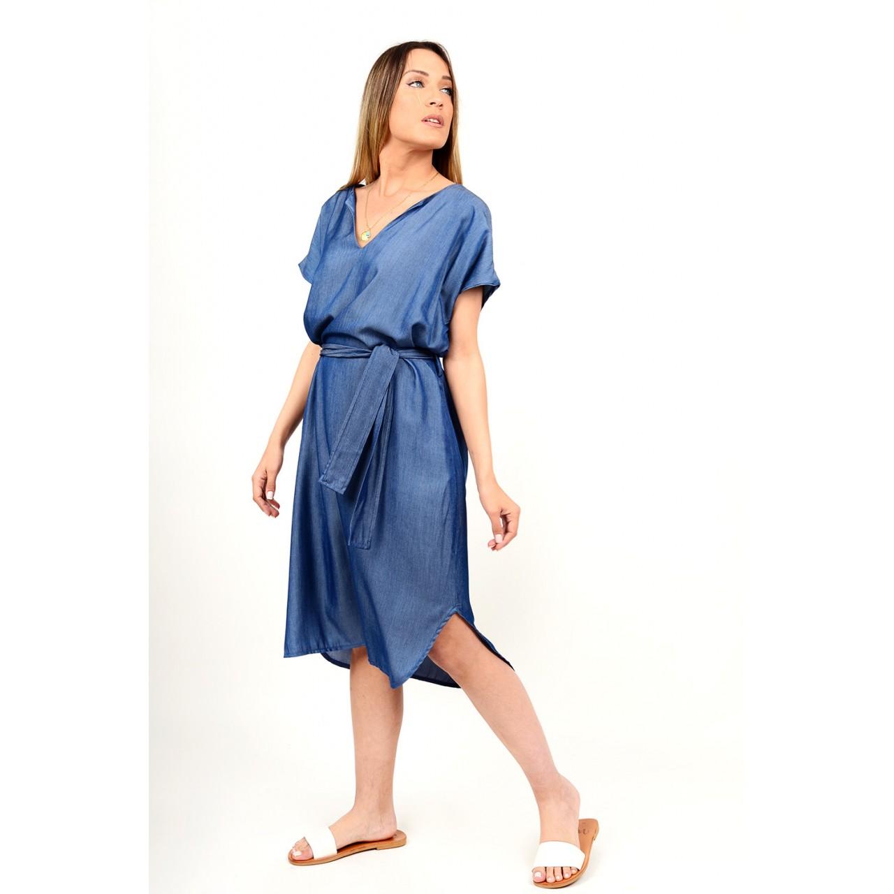 Midi jean dress with belt