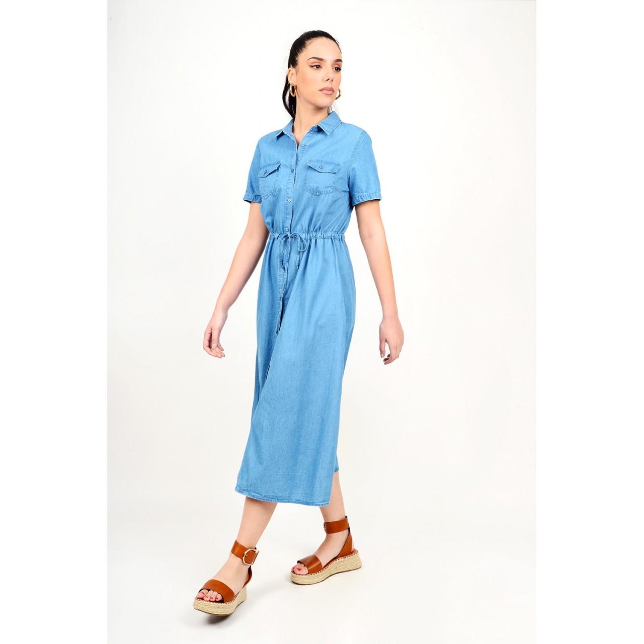 229.Φόρεμα μίντι τζιν με τσέπες σε άλφα γραμμή