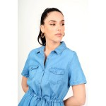 Midi jean dress with pockets in a-line