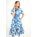Midi jean floral dress in a-line