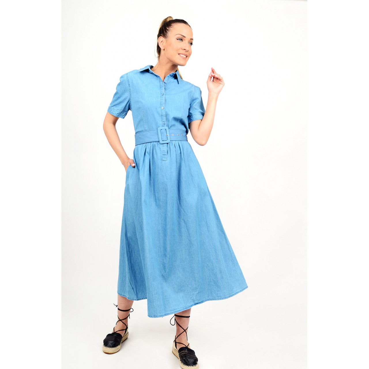Midi jean dress with belt in a-line