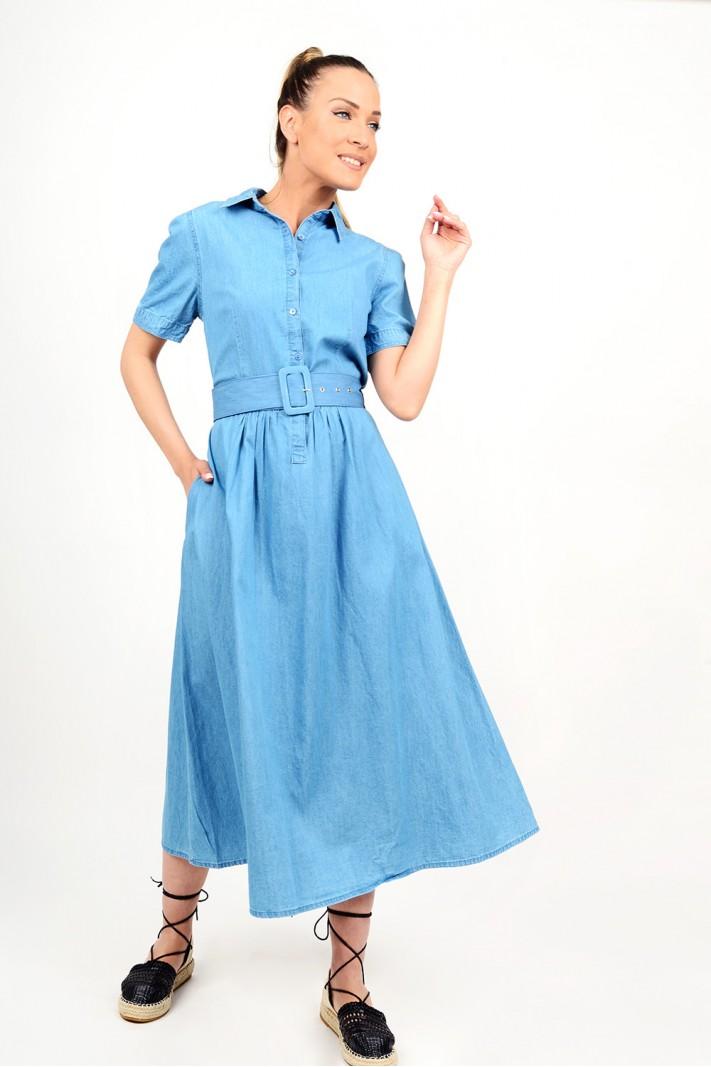 231.Φόρεμα μίντι τζιν με ζώνη σε άλφα γραμμή