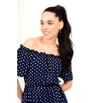 Maxi polka dotted dress with elastic
