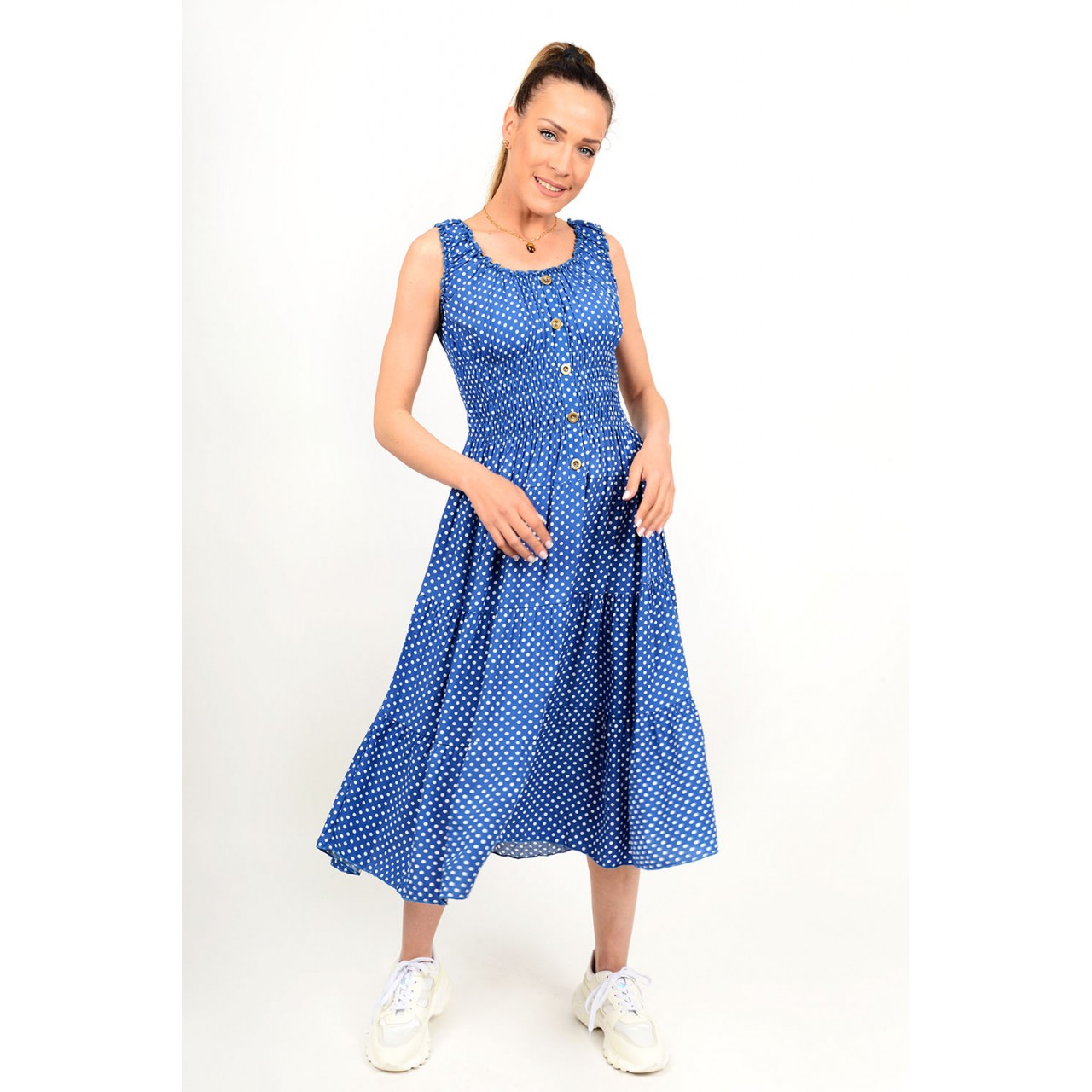 Midi polka dotted dress with buttons