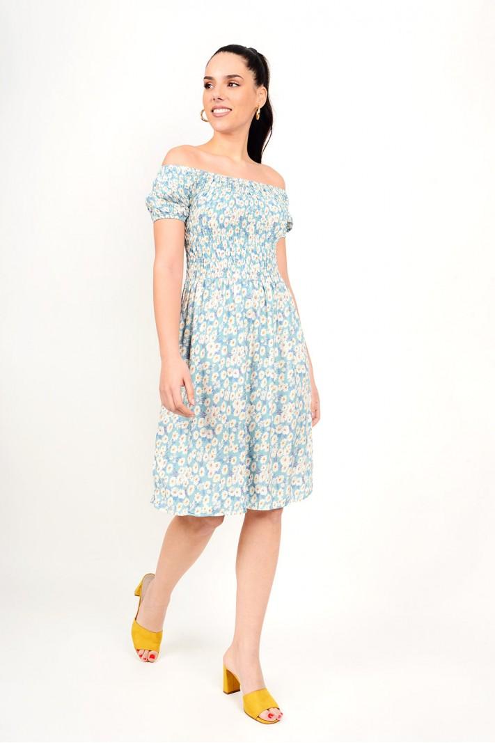 248.Φόρεμα μίντι φλοράλ με λάστιχο