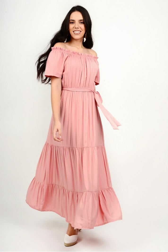 263.Φόρεμα μακρύ με λάστιχο