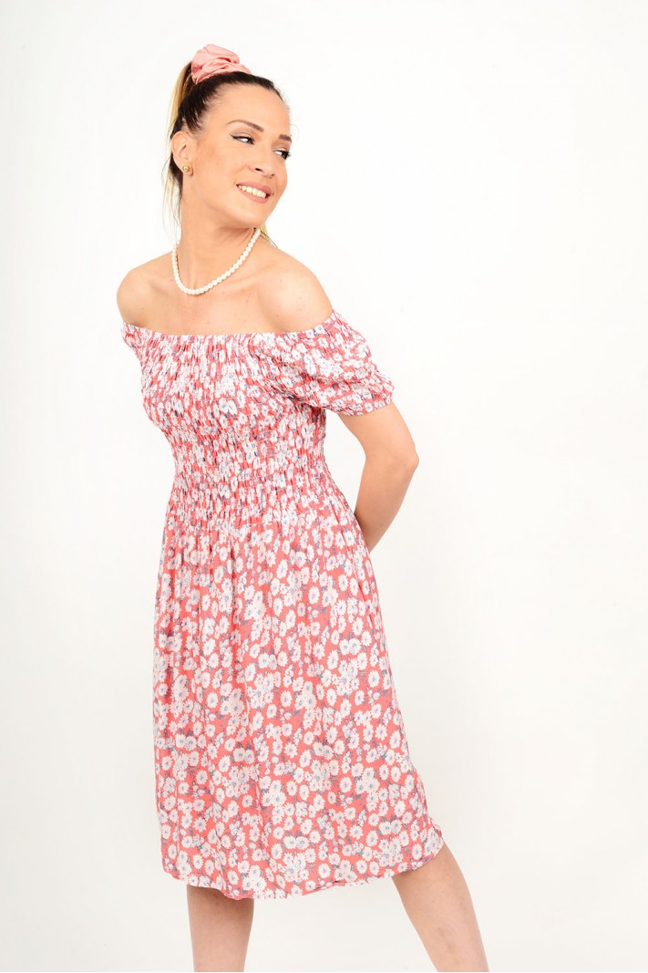 Midi floral dress with elastic