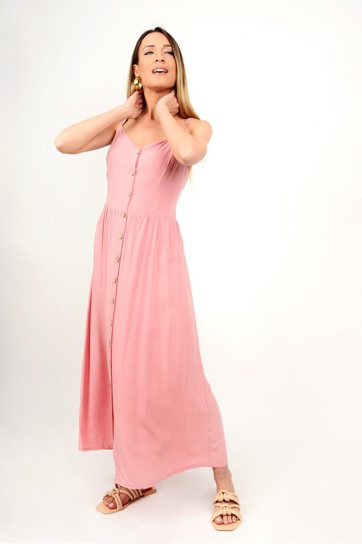 266.Φόρεμα μακρύ με κουμπιά