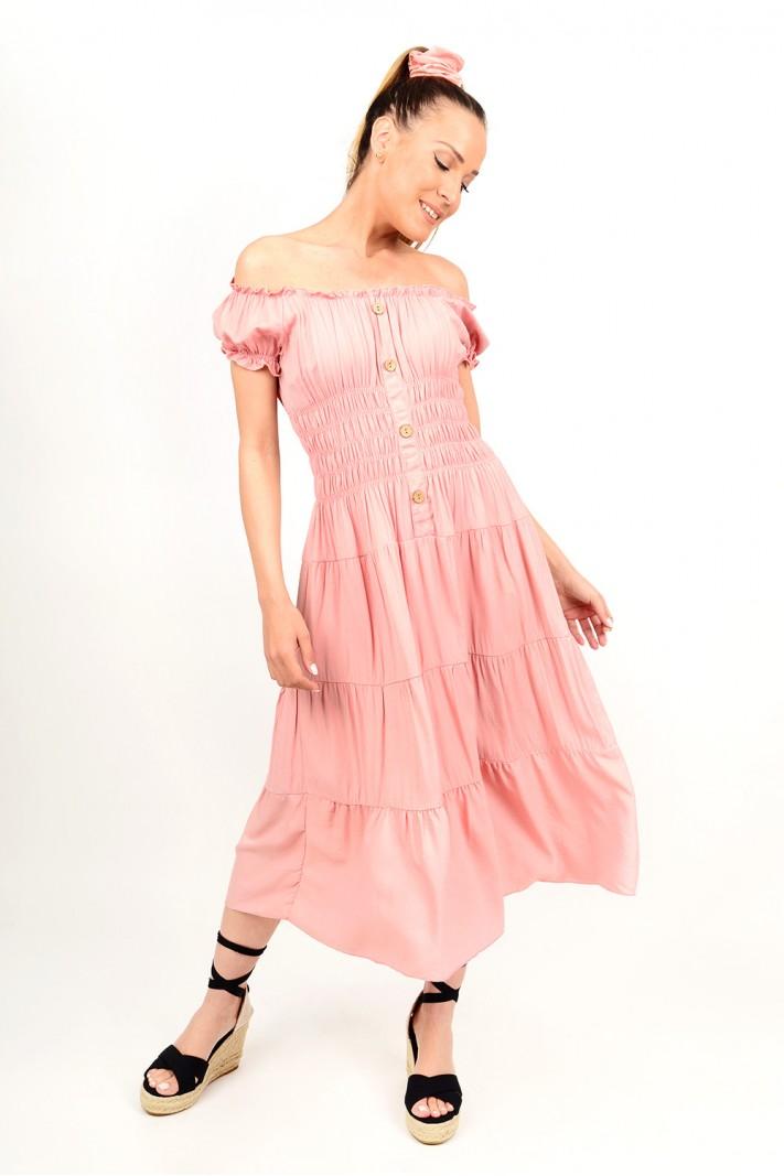 268.Φόρεμα μίντι με λάστιχο