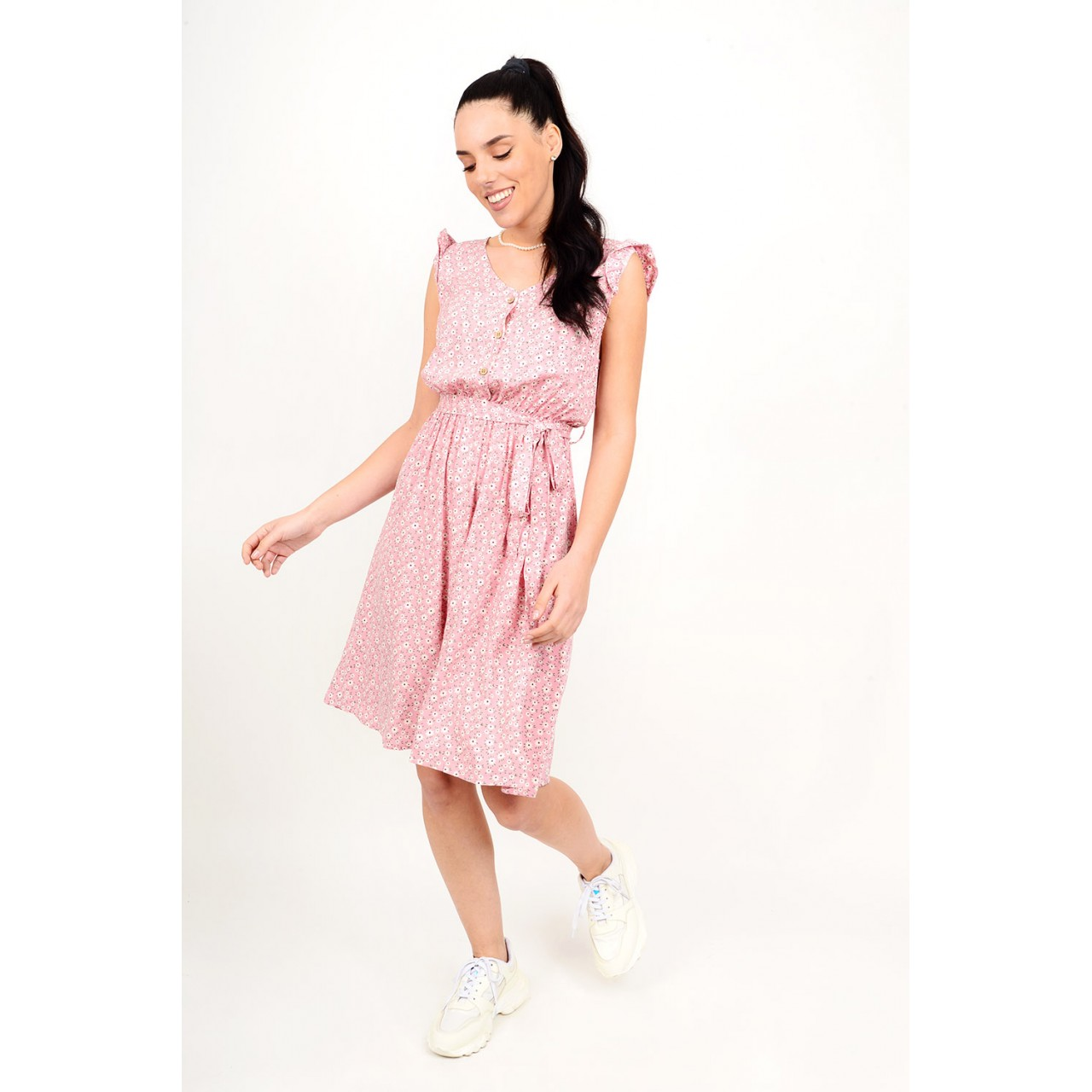 Midi floral dress with buttons