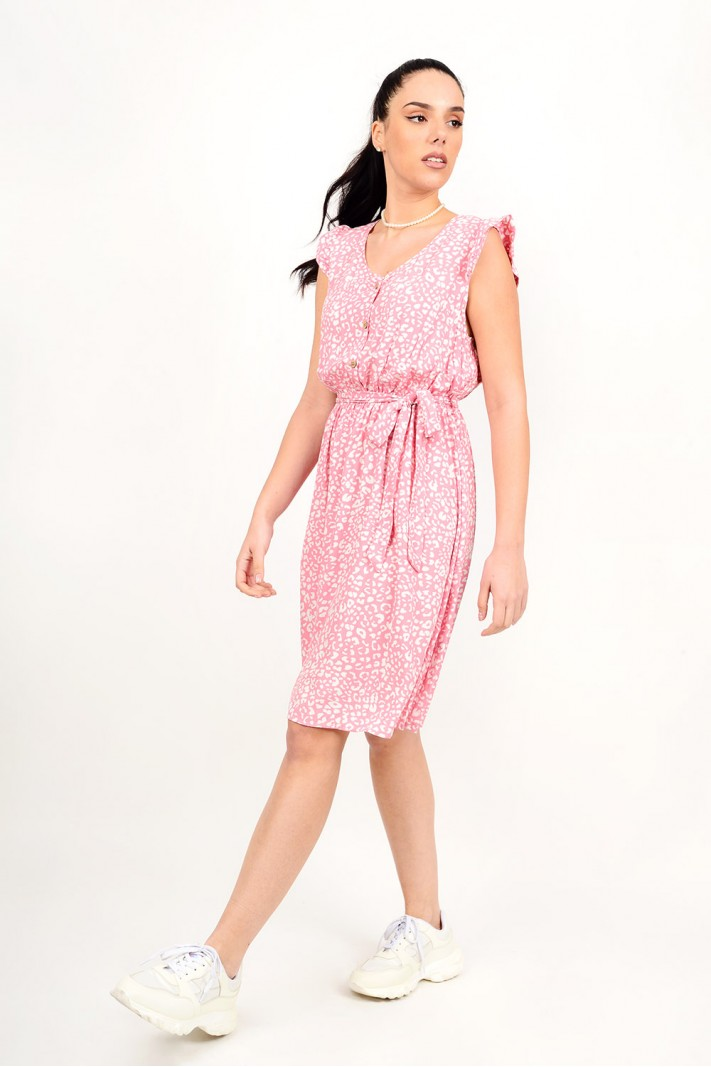 Midi printed dress with buttons