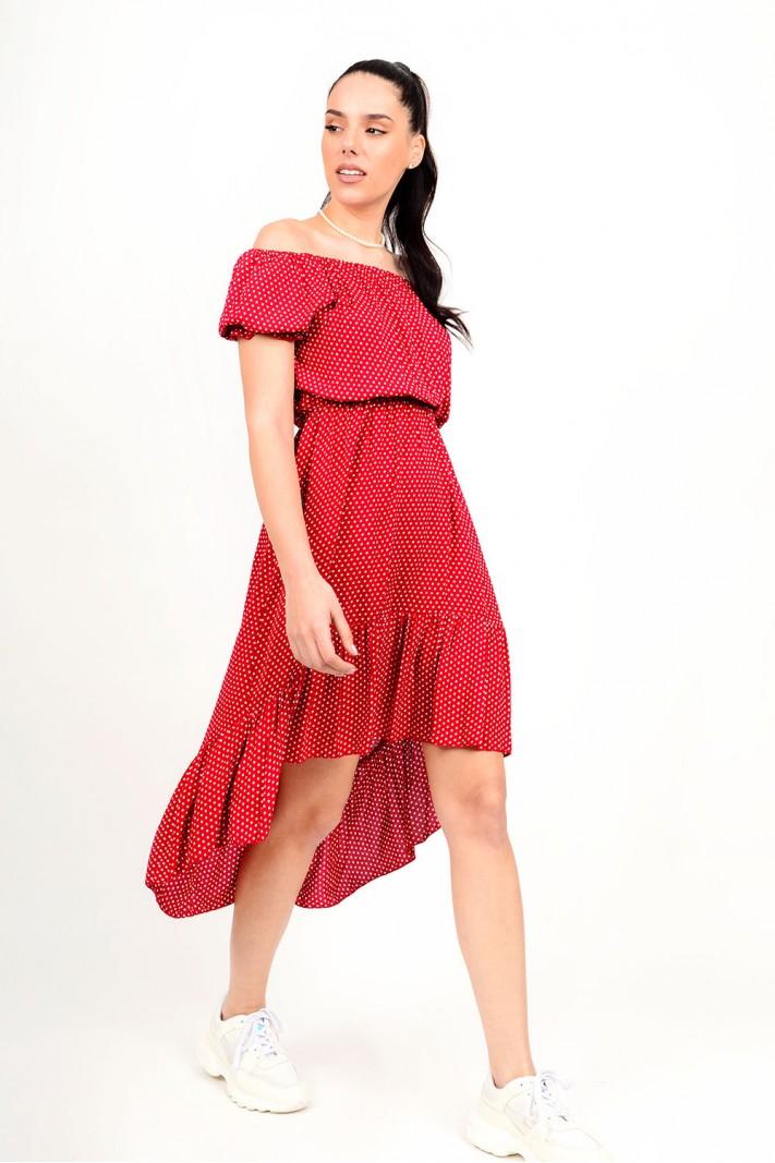 275.Φόρεμα πουά ασύμμετρο με λάστιχο