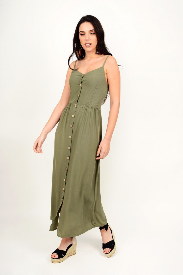 Maxi dress with buttons