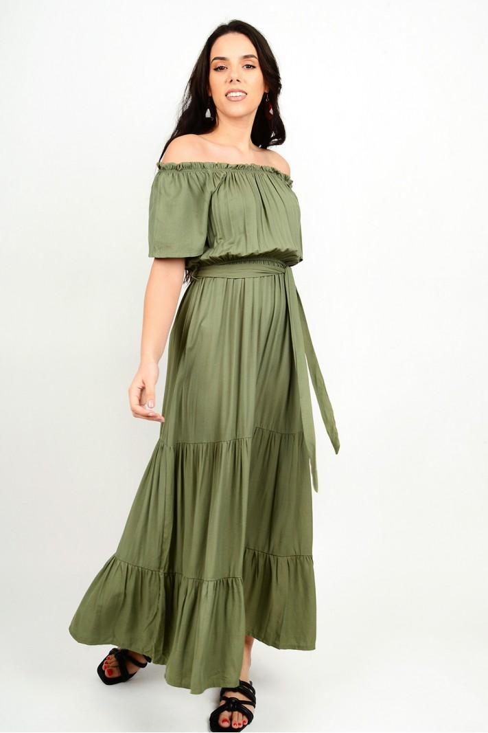 Maxi dress with elastic