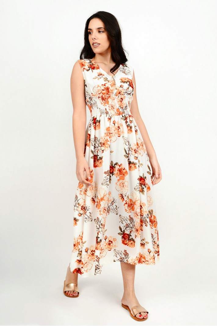 Maxi floral dress with buttons