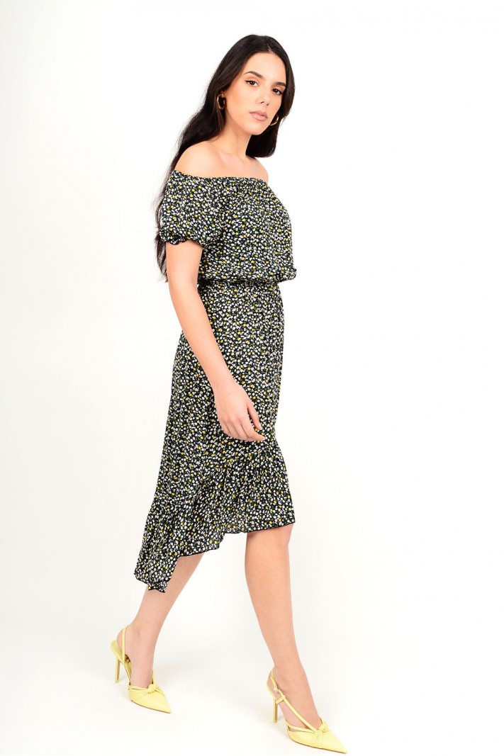 Asymmetrical floral dress with elastic