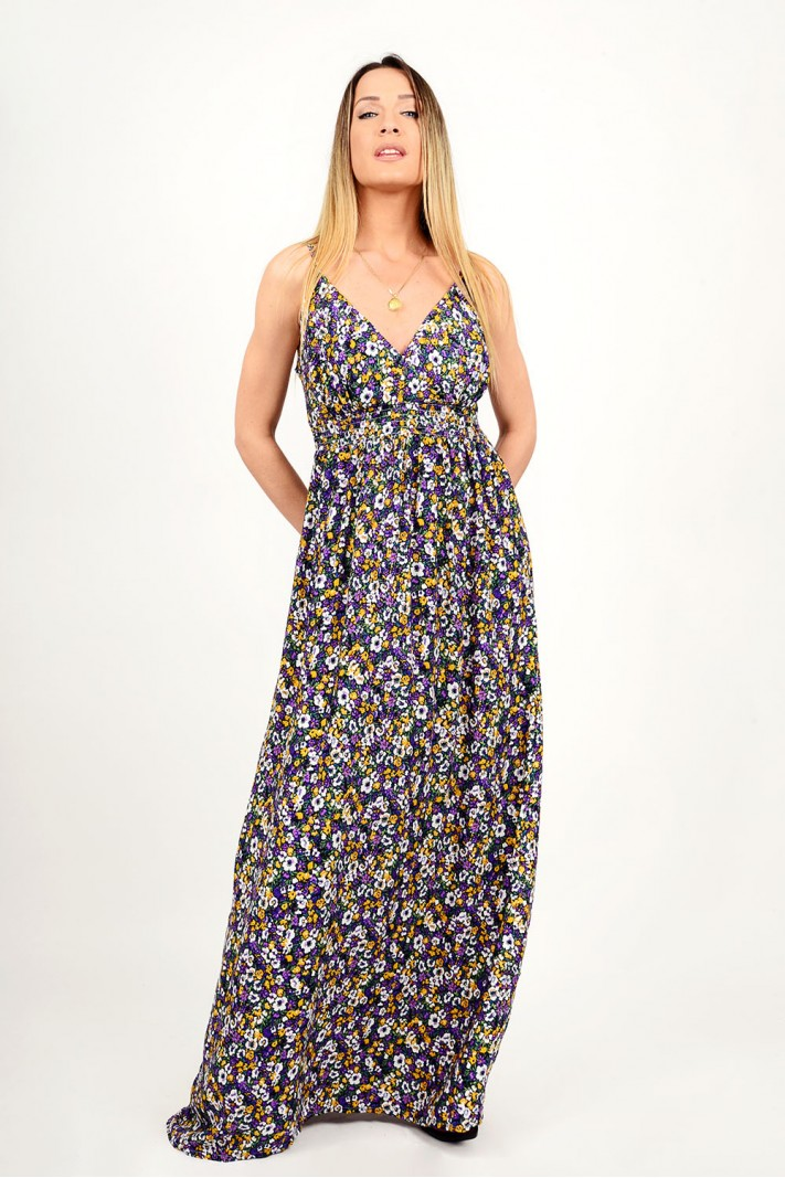 Maxi floral dress with straps