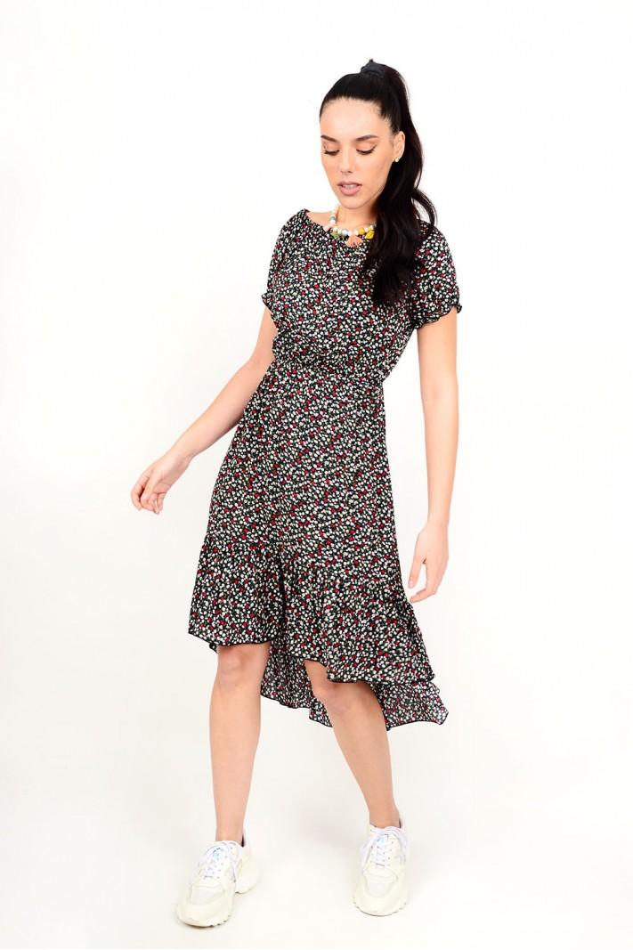 310.Φόρεμα φλοράλ ασύμμετρο με λάστιχο