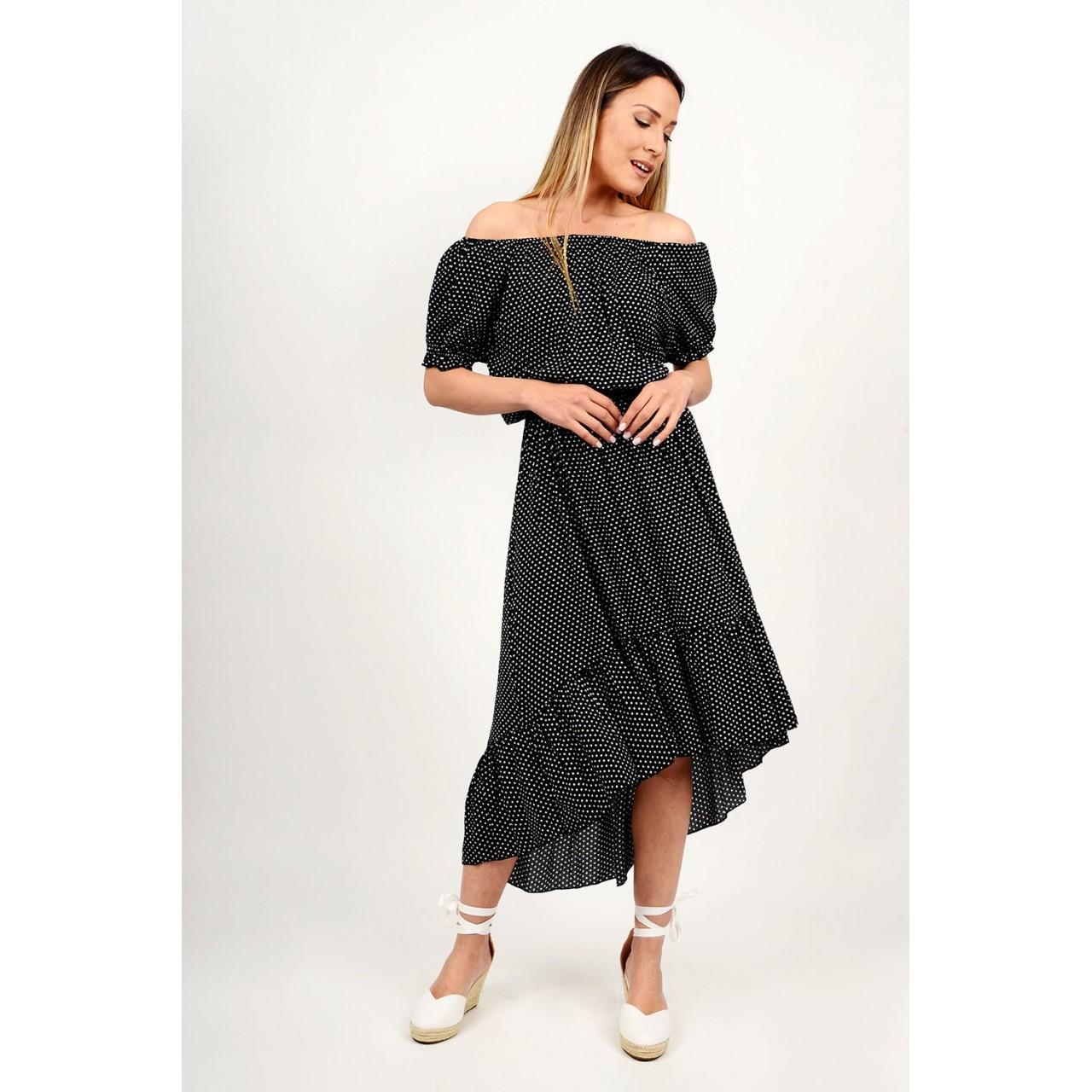 324.Φόρεμα πουά ασύμμετρο με λάστιχο