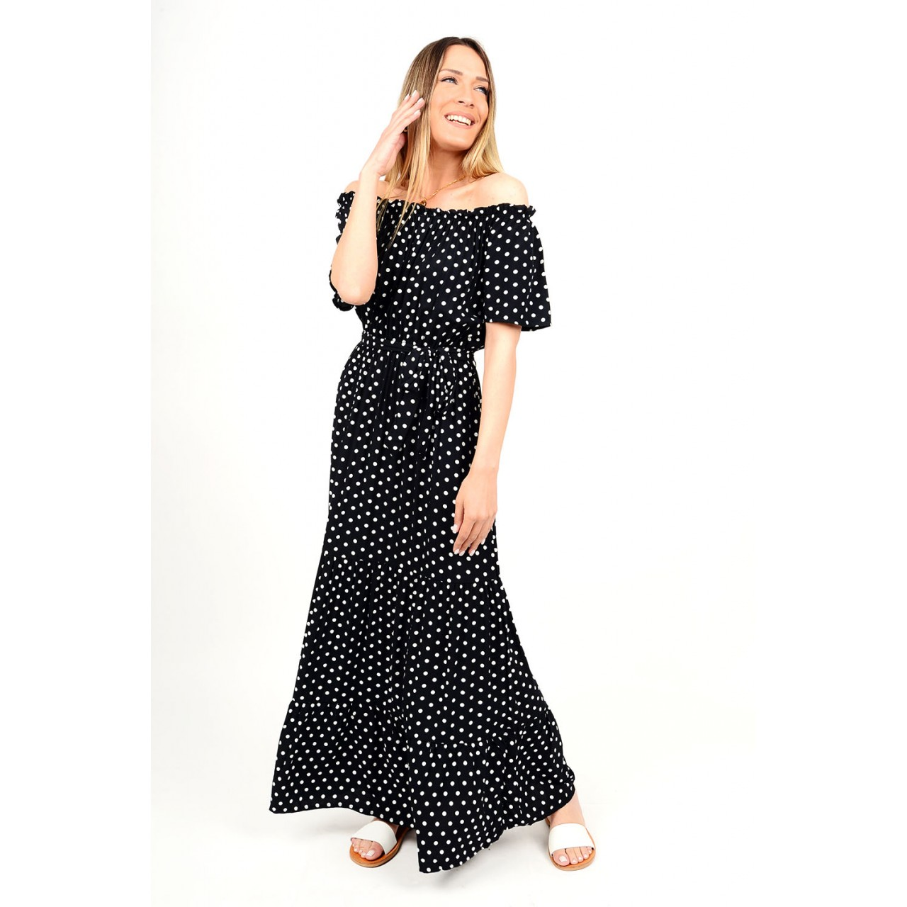 327.Φόρεμα μακρύ πουά με λάστιχο
