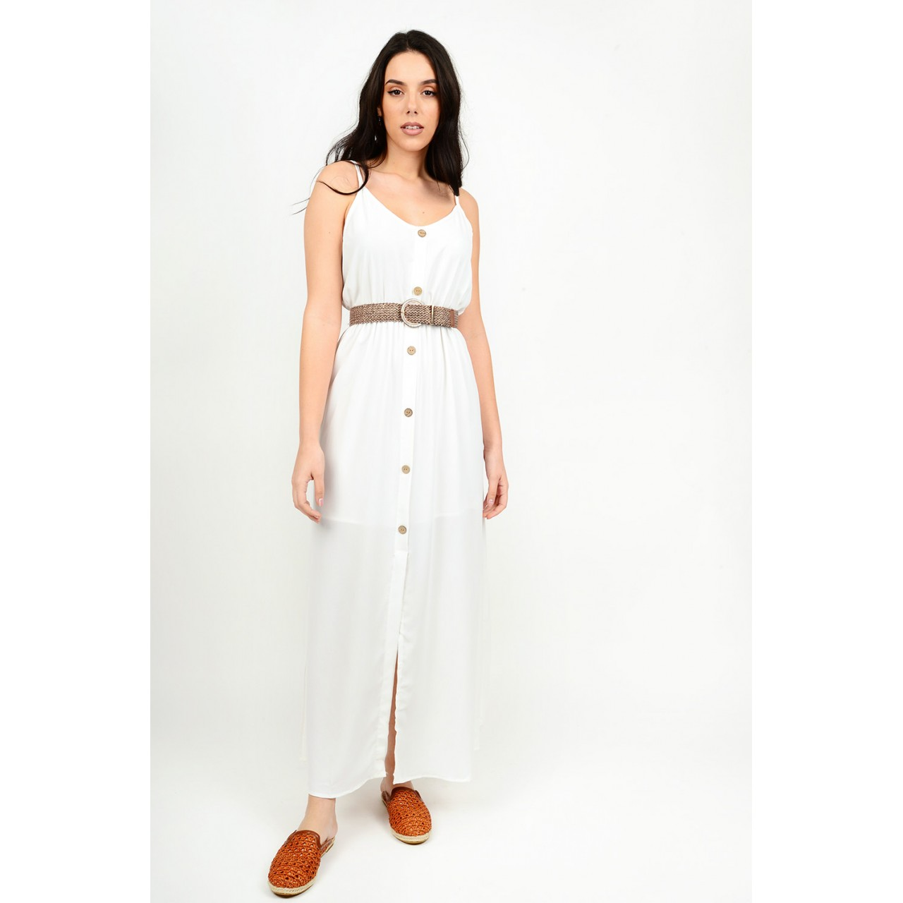 330.Φόρεμα μακρύ με κουμπιά