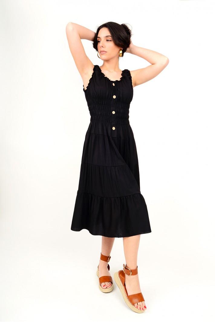Midi dress with elastic