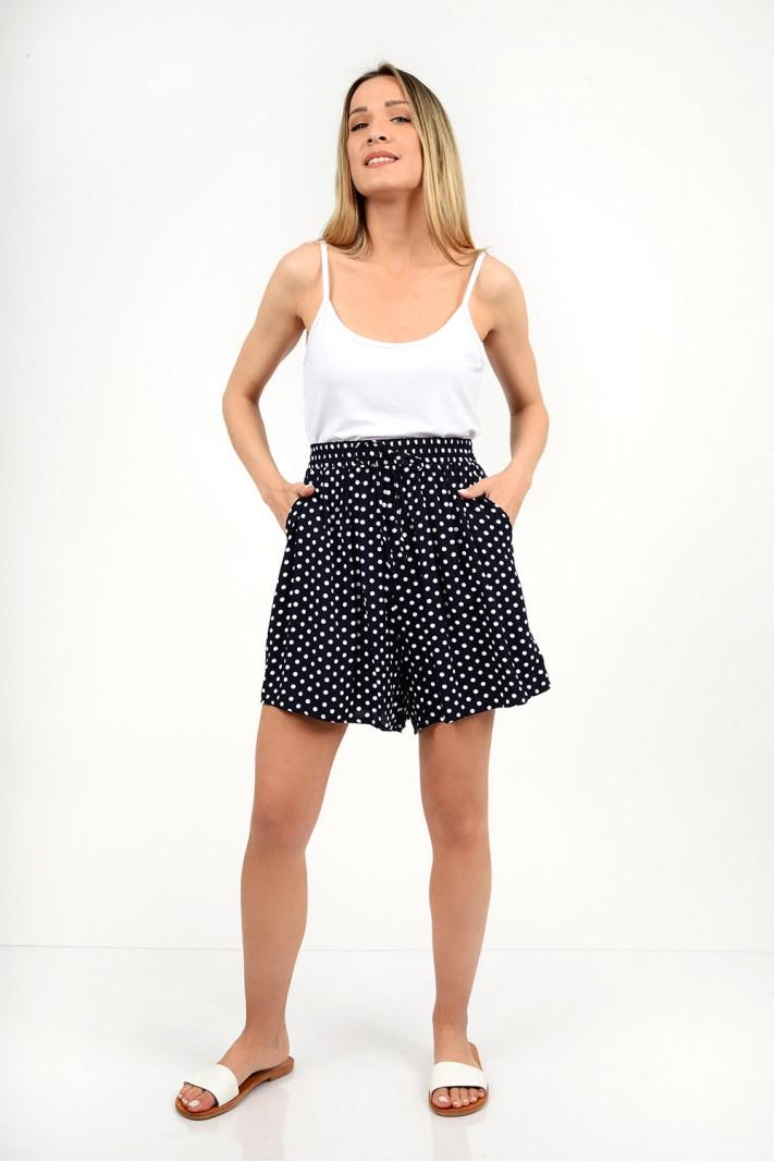 High waist polka dotted shorts