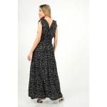 422.Φόρεμα μακρύ πουά με λάστιχο