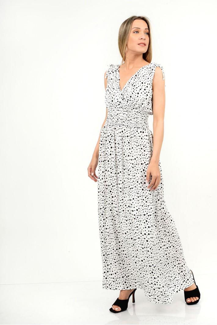 429.Φόρεμα μακρύ πουά με λάστιχο