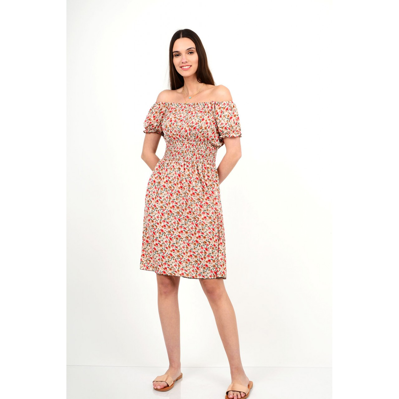 443.Φόρεμα μίντι φλοράλ με λάστιχο