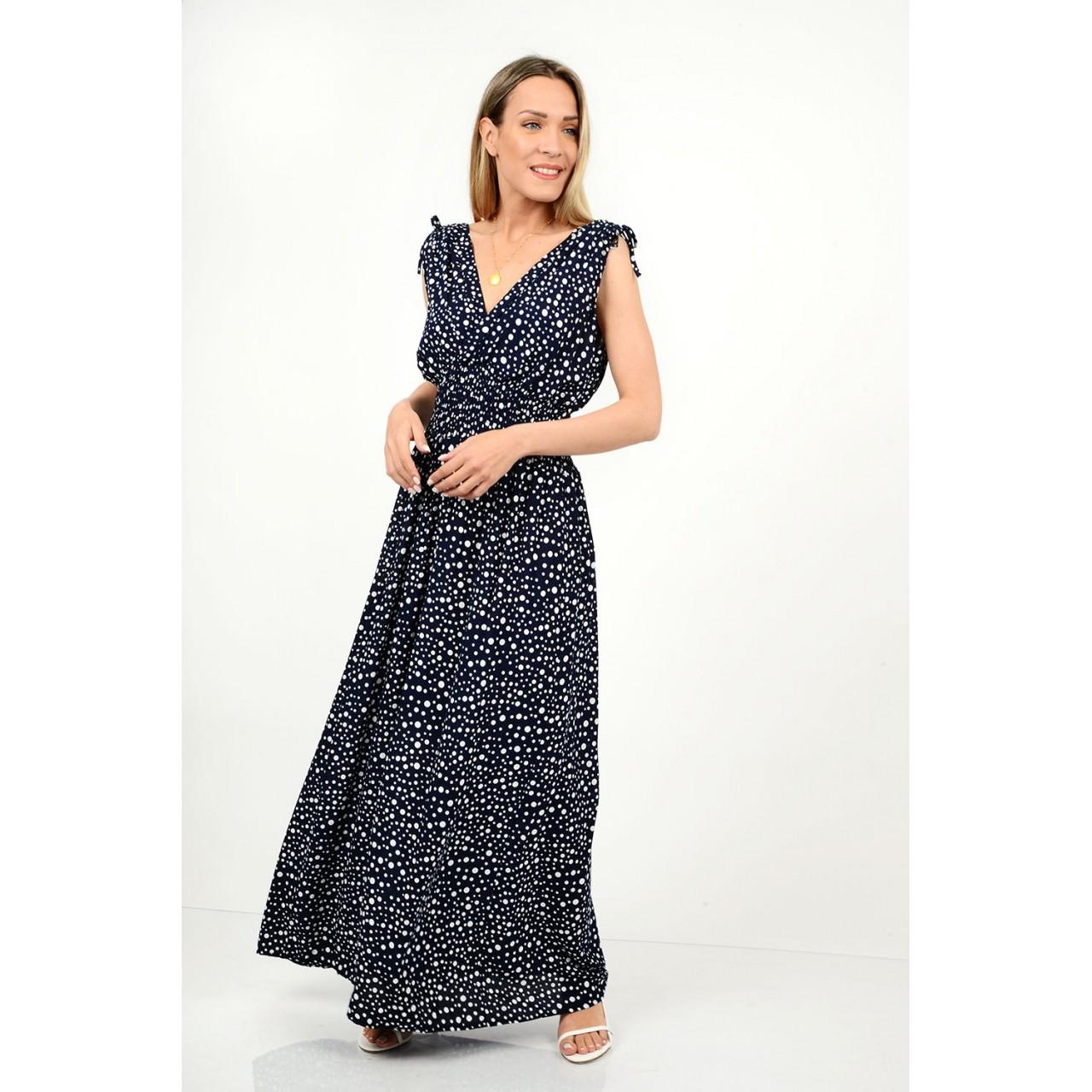 479.Φόρεμα μακρύ πουά με λάστιχο