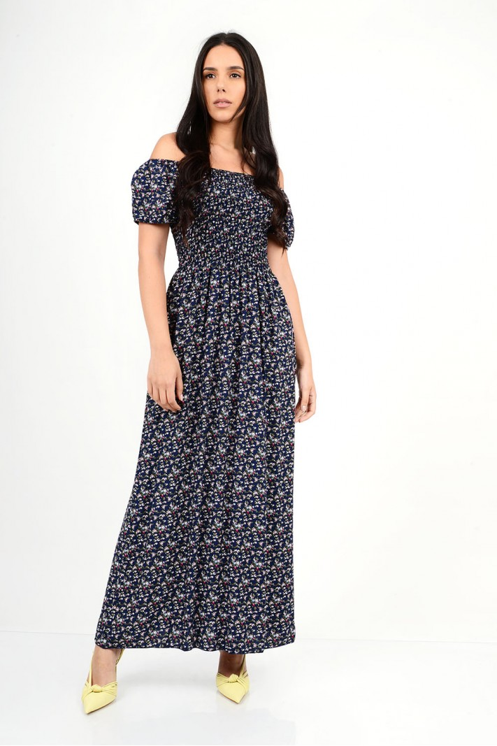 497.Φόρεμα μακρύ φλοράλ με λάστιχο