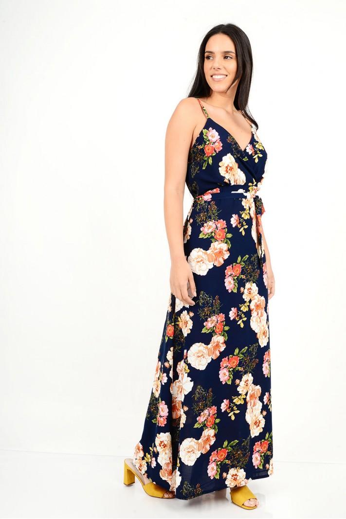 499.Φόρεμα μακρύ φλοράλ με τιράντες