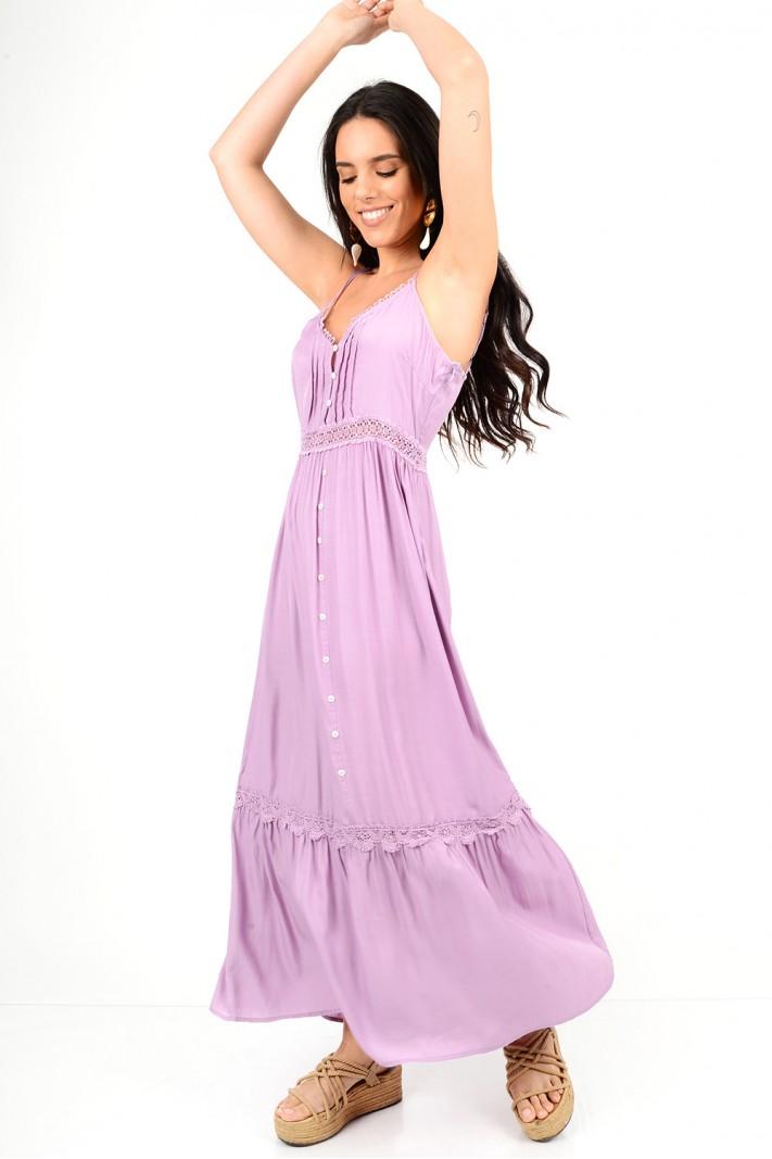 504.Φόρεμα μακρύ με δαντέλα