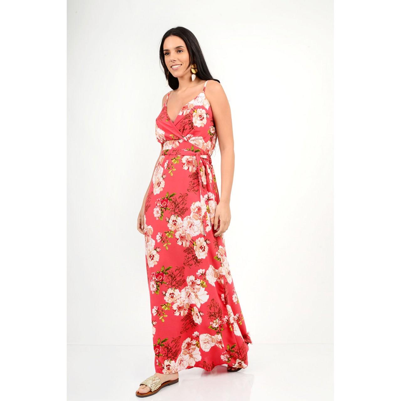 509.Φόρεμα μακρύ φλοράλ με τιράντες